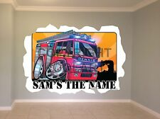 Huge Koolart Cartoon Emergency Fire Engine Wall Sticker Poster Mural 2922