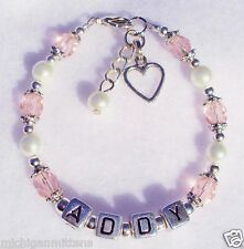 Girls Baby Child Name Personalized Birthstone Heart Charm bracelet