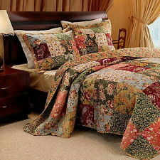 5pc FRENCH COUNTRY Floral Patchwork Cotton QUILT SET Twin Full/Queen King/C King