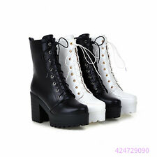 Mew Womens Fashion High Heel Shoes Platform Lace UP Mid Calf Boots AU Size Y1210