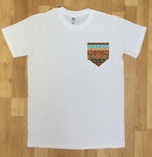 C8-2 Mens White T-Shirt With Aztec Pocket Print Printed Chest Pocket 100% Cotton
