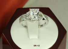 3.67 CT STERLING SILVER EMERALD CZ ANNIVERSARY ENGAGEMENT WEDDING PAVE HALO RING