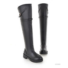 Womens Ladies Shiny Low Heel Compact Over the Knee Buckle Boot Winter Shoes Size
