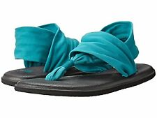 Women's Shoes Sanuk Yoga Sling 2 Knit Fabric Sandals SWS10001 Teal *New*
