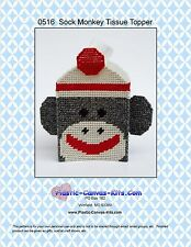Sock Monkey Tissue Topper- Plastic Canvas Pattern or Kit