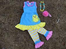 Little Chick Easter Boutique Outfit  Necklace & Hair Bow   Girls NEW