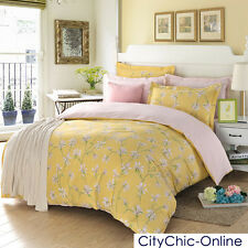 Single/Queen/King Bed Quilt/Duvet Cover/Pillow Case 3PC Set-Yellow/White Flower