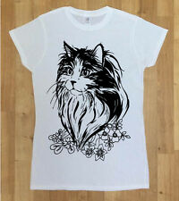 Women Cat T-shirt - Floral Big Black Cat - Womens Fashion T- shirt With Cat Face