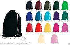 New 100% Cotton Drawstring Rucksack Backpack Eco Tote Bag School Gym PE Book P E