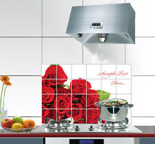 Rose Kitchen Decor Oil Proof Resistant Aluminum Foil Tile Wall Stickers Decal LX