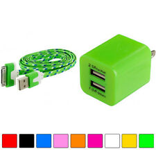 2 Port Fast Dual Wall Travel Charger+USB Sync 3FT 3 FT Rope Cable for Phones