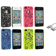 Color Rear Lovely Carving Rose Flower Hard Case+Sync Cable for iPhone 4 4G 4S