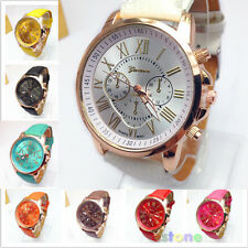 Chic Geneva Roman Numerals Analog Quartz Womens Faux Leather Wrist Watch