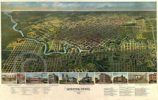 1891 Historical Wall Map Houston Texas Vintage Panoramic