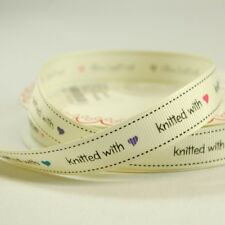 16mm Bertie's Bows Knitted With Love Grosgrain Heart Craft Ribbon