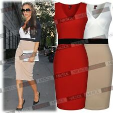 Womens Sexy V-neck Panel Bodycon Cocktail Party Work Wear Wedding Former Dresses