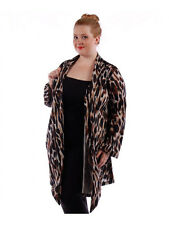 New Women's Plus Size Brown-Black Abstract Print Cardigan Sweater size 1X USA