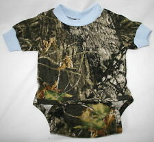 MOSSY OAK CAMOUFLAGE & BLUE BABY INFANT DIAPER SHIRT - CAMO SNAP SHIRT
