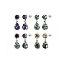 Sterling Silver 925 Balinese Round and Pear Shape Gemstone Dangle Earrings
