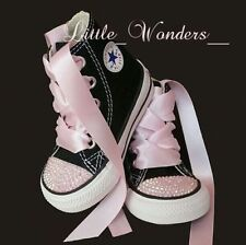 Swarovski Rhinestone Baby Girl Toddler White Converse Shoes