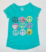Circo Girls Aqua Blue T-Shirt Peace Signs Flowers Size Small 6-6X NWT