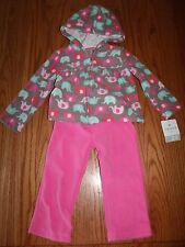 NWT CARTER'S BABY GIRLS ELEPHANT FLEECE 2 PIECE OUTFIT JACKET SWEATS PINK 24M