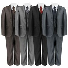 BOYS 5 PIECE SUIT SHINY PARTY JACKET TROUSERS SHIRT WAISTCOAT TIE 6MTH -14 YEARS