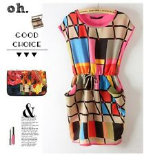LADY Summer Colorful Sexy Casual Short MINI SIZE Evening Cocktail Party Dress ab
