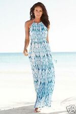 Next Ladies Pleated Water Print Halter Neck Summer Maxi Blue Dress 8,10,12,14,16