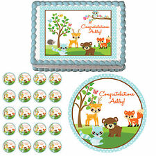 Blue Woodland Forest Animals Edible 1st Birthday Baby Shower Cake Cupcake Topper