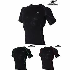 Mens Short Sleeve Compression Shirts SR Base Layer Short Sleeves Top Muscle Line