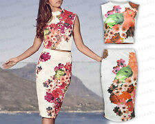 Women Ladies NEW Celeb Inspired Co-Ord Floral Skirt Crop Top Set Sleeveless 8-14