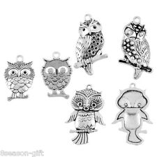 10PCs Zinc Alloy Charm Pendants Owl Shape Jewelry Findings Dull Silver Tone