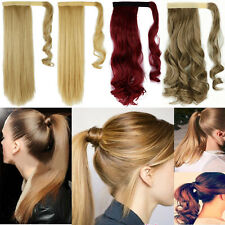 100% Women's Ladies Wrap Around Clip In Hair Extensions Pony Tail Ponytail M8