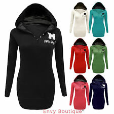 Ladies Sweatshirt Jumper Miss Sexy Plain Hoodie Top Hooded Sizes 6-12