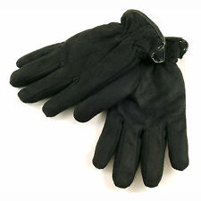 Saddlebred Mens Winter Gloves Faux Suede & Faux Lambswool Lined Black