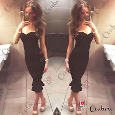 Womens Elegant Bodycon Fishtail Mermaid Midi Evening Prom Cocktail Ladies Dress