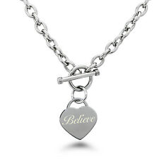 Stainless Steel Engraved Believe Heart Charm Bracelet or Necklace
