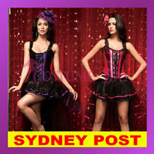 Ladies Burlesque Moulin Rouge Hens Night Party Petticoat Costume Corset + Skirt