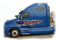 Car Truck Semi Decals American Flag Tear Vinyl Auto Graphics 4ft to11ft long