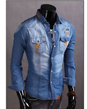New Spring Men's Denim Long Sleeve Slim Fit Washed Jeans Casual Shirts Jacket MC