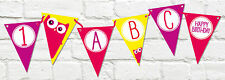 Personalised PARTY BANNER Childrens Bespoke OWL Stationery Bunting