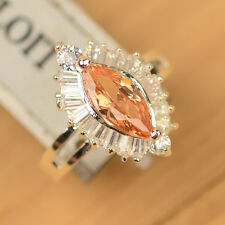 U Pick Brown Morganite & White Topaz 925 Sterling Silver Ring Size 7/8/9 J113
