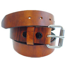 Men's 1 1/2 Rustic Hot Dipped Tan Harness Leather Belt Roller Buckle Made In USA