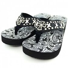 Western Leather Strap Black Flip Flop Rhinestone Cross & White  leather  Design