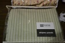 """JCPenney PATRICE COTTON STRIPE LINED Rod Pocket Curtain Drapery Pair 84""""W X 84""""L"""