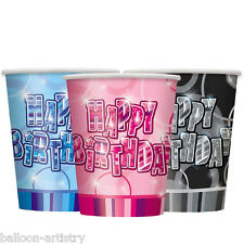 8 Pink Blue Black Happy Birthday Glitz 9oz Paper Cups Party Supplies