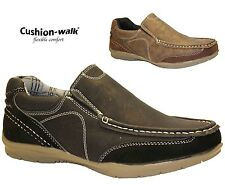 MENS Cushion walk COMFORT LEATHER LOOK SMART CASUAL SUMMER SHOES SLIP ON BOOTS
