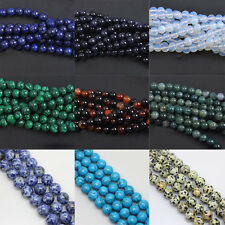 Wholesale Mixed Natural Gemstone Round Spacer Loose Beads DIY 4 6 8 10 12mm