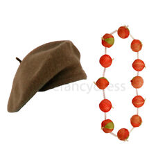 BROWN BERET HAT AND ONION GARLAND NECKLACE FRENCH MAN FANCY DRESS COSTUME SET